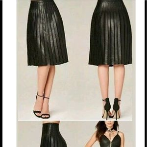 Bebe faux leather and lace Pleated skirt